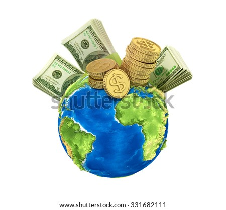 Concept of world money. Money on the planet on a blue background. - stock photo