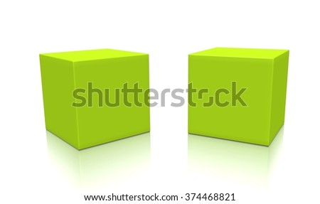 Concept of yellow-green boxes isolated on a white background.