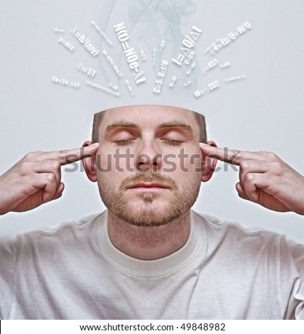 concept of young man with open head concentrating and learning - stock photo