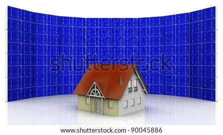 concept on a house and solar cell