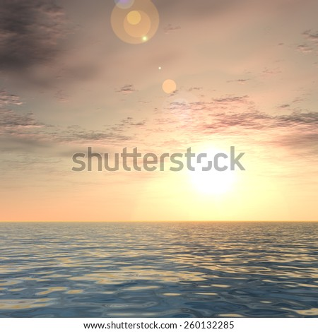 Concept or conceptua beautiful seascape with water and waves and a sky with clouds at sunset as a metaphor for nature, romantic, dramatic, light, evening, peace, atmosphere or weather - stock photo