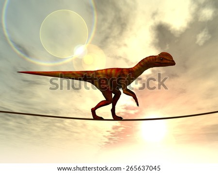 Concept or conceptual abstract business metaphor as wild heavy dinosaurus balancing on rope over sunset sky background, for risk, danger, challenge, power, trust, possible, courage, strong or success - stock photo