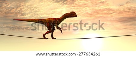 Concept or conceptual abstract business metaphor as wild heavy dinosaurus balancing on rope over sunset sky background, for risk, danger, challenge, power, trust, possible, courage, strong or success
