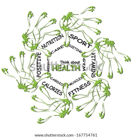 Concept or conceptual abstract circle health word cloud of green leaf child hand prints isolated on white background,metaphor to medical,diet,sport,shape,silhouette,food,lifestyle or medicine - stock photo
