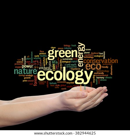 Concept or conceptual abstract green ecology, conservation word cloud text in man hand on black background for environment, recycle, earth, clean, alternative, protection, energy, eco friendly or bio - stock photo