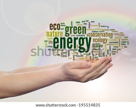 Concept or conceptual abstract green ecology, conservation word cloud text man hand, rainbow sky background for environment, recycle, earth, clean, alternative, protection, energy, eco friendly or bio - stock photo
