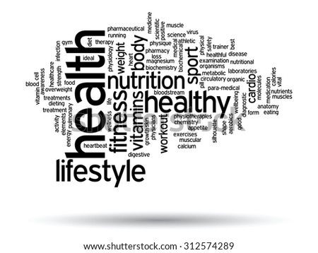 Concept or conceptual abstract health diet or sport word cloud or wordcloud on white background - stock photo