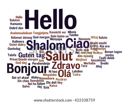 Concept or conceptual abstract hello or greeting international word cloud in different languages or multilingual, metaphor to world, foreign, worldwide, travel, translate, vacation or tourism - stock photo