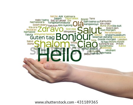 Concept or conceptual abstract hello or greeting international word cloud on hands in different languages or multilingual, metaphor to world, foreign, worldwide, travel, translate, vacation or tourism - stock photo