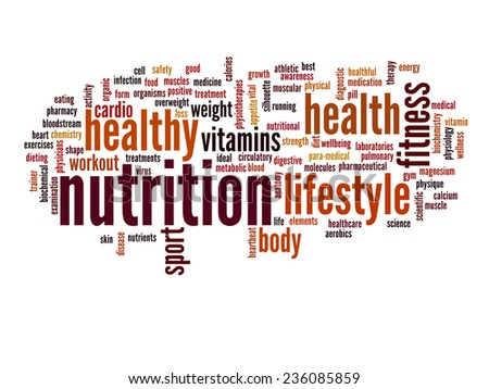Concept or conceptual abstract nutritiona and health word cloud or wordcloud on white background - stock photo