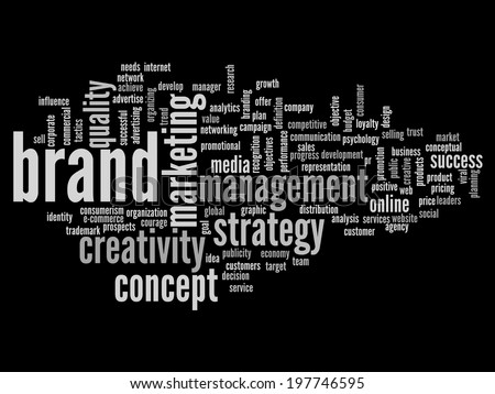 Concept or conceptual abstract word cloud isolated on black background as metaphor for business, trend, media, focus, market, value, product, advertising or customer. Also for corporate wordcloud - stock photo