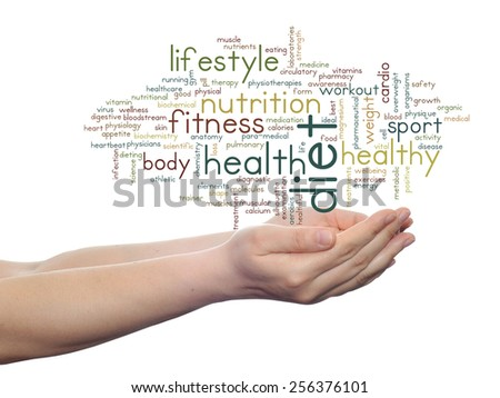 Concept or conceptual abstract word cloud man hand on white background, metaphor to health, nutrition, diet, wellness, body, energy, medical, fitness, medical, gym, medicine, sport, heart or science - stock photo