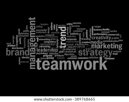 Concept or conceptual abstract word cloud on blue background as metaphor for business, trend, media, focus, market, value, product, advertising or customer. Also for corporate wordcloud