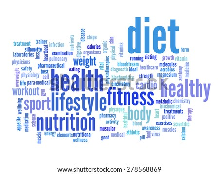 Concept or conceptual abstract word cloud on white background as metaphor for health, nutrition, diet, wellness, body, energy, medical, fitness, medical, gym, medicine, sport, heart or science - stock photo