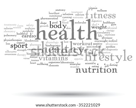 Concept or conceptual abstract word cloud on white background, metaphor to health, nutrition, diet, wellness, body, energy, medical, fitness, medical, gym, medicine, sport, heart science