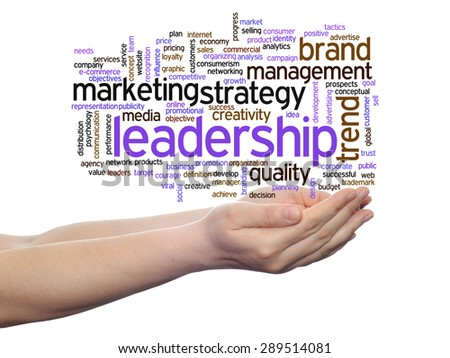 Concept or conceptual abstract word cloud or wordcloud in man or woman hand on white background, metaphor to  business, trend, media, focus, market, value, product, advertising, customer or  corporate - stock photo