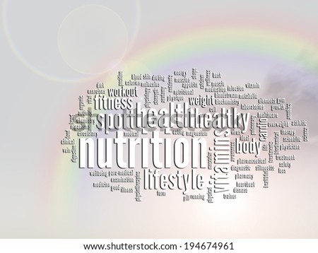 Concept or conceptual abstract word cloud, rainbow sun background as metaphor for health, nutrition, diet, wellness, body, energy, medical, fitness, medical, gym, medicine, sport, heart or science