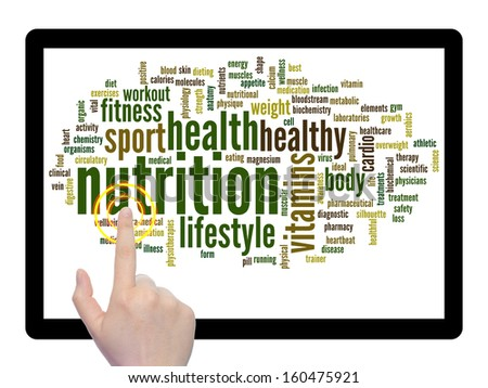 Concept or conceptual abstract word cloud with a hand on touch screen on white background as metaphor for health,nutrition,diet,wellness,body,energy,medical,fitness,medical,gym,medicine,sport or heart