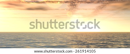 Concept or conceptual beautiful seascape with water and waves and a sky with clouds at sunset as a metaphor for nature, romantic, dramatic, light, evening, peace, atmosphere or weather banner   - stock photo