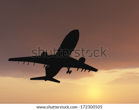 Concept or conceptual black plane, airplane or aircraft silhouette flying over sky at sunset or sunrise background,metaphor to air,travel,transportation, jet,flight,transport,business,vacation,tourism - stock photo