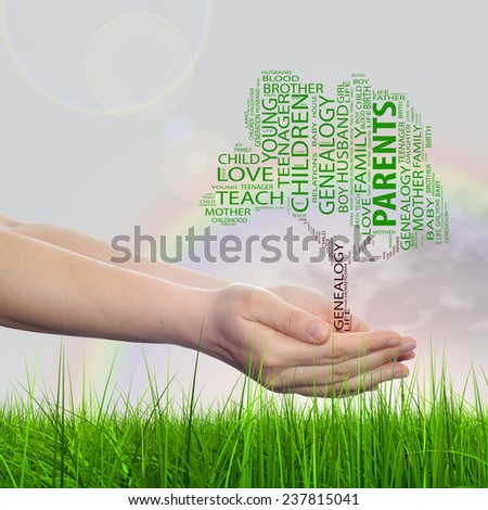 Concept or conceptual black text word cloud tagcloud as tree on man or woman hand on rainbow sky background and grass, metaphor to child, family, education, home, love and school learn achievement - stock photo