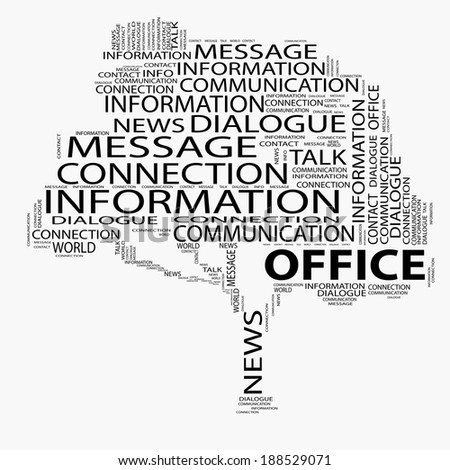 Concept or conceptual black tree word cloud on white background, metaphor for communication, speech, message, mail, relation, dialog, talk, report, contact, stair, climb, email, internet wordcloud - stock photo