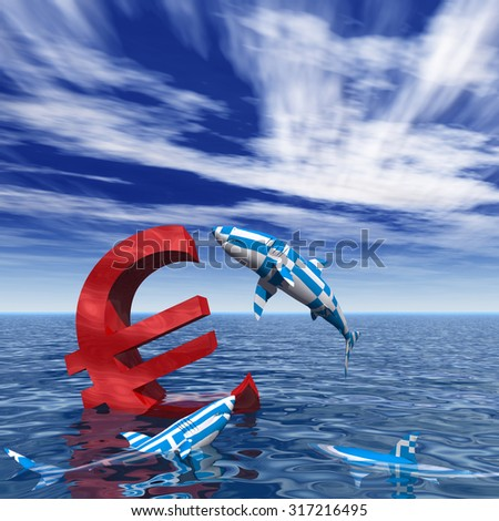 Concept or conceptual bloody euro symbol or sign sinking in water or sea, with Greece sharks eating as a metaphor for crisis in Europe, ideal for financial, business or currency designs - stock photo