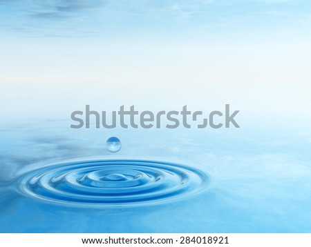 Concept or conceptual blue liquid drop falling in water splash background with ripples and waves, metaphor to nature, natural, summer, spa, drink, cool, business, environment, rain or health design - stock photo