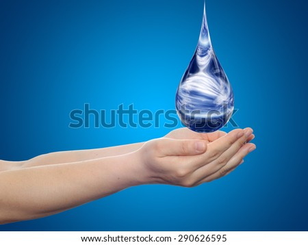 Concept or conceptual blue water or liquid drop falling in two woman hands, blue gradient background, for splashing, palm, clear, purity, freshness, nature, clean, health, rain, environment, drinks - stock photo