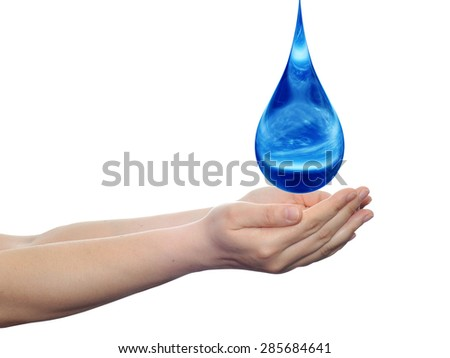 Concept or conceptual blue water or liquid drop falling in two woman hands isolated on white background for splashing, palm, clear, purity, freshness, nature, clean, health, rain, environment, drinks - stock photo