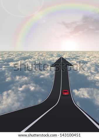 Concept or conceptual business arrow road with a car driving pointing up above the clouds in the sky background,metaphor to challenge,success,growth,future,progress,upward,recovery,improve or develop