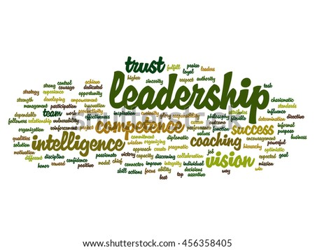 Concept or conceptual business leadership, management value word cloud isolated on background metaphor to strategy, success, achievement, responsibility, authority, intelligence or competence - stock photo