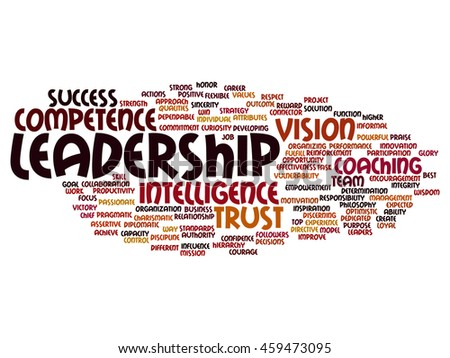Concept or conceptual business leadership, management value word cloud isolated on background - stock photo