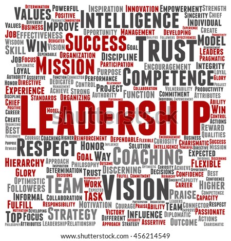 Concept or conceptual business leadership or management square word cloud isolated on background metaphor to strategy, success, achievement, responsibility, authority, intelligence or competence - stock photo
