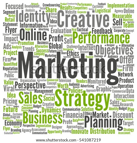 Concept or conceptual business marketing target word cloud isolated on background, metaphor to advertising, strategy, promotion, branding, value, performance, planning, challenge or development