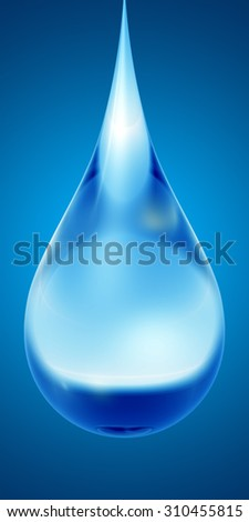 Concept or conceptual clean cold rain water liquid drop falling, blue gradient  background metaphor to nature, wet, purity, splash, fresh, spring, summer, pure, freshness, drink, eco or environment - stock photo