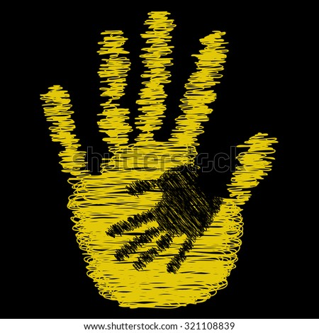 Concept or conceptual cute drawing paint hands of mother and child isolated on black background for art, care, childhood, family, fun, happy, infant, symbol, kid, little, love, mom, motherhood, young - stock photo