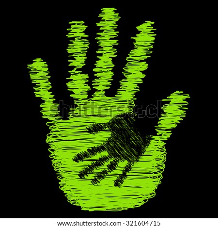 Concept or conceptual cute drawing paint hands of mother and child isolated on black background for art, care, childhood, family, fun, happy, infant, symbol, kid, little, love, mom, motherhood young - stock photo