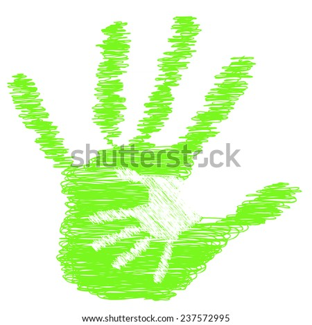 Concept or conceptual cute green drawing paint hands of mother and child isolated on white for art, care, childhood, family, fun, happy, infant, symbol, kid, little, love, mom, motherhood or young - stock photo