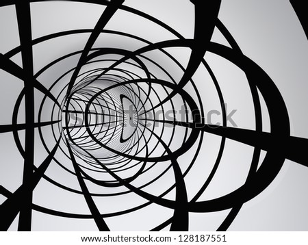 Concept or conceptual 3D abstract perspective render of a futuristic curve tunnel or tube background as metaphor to motion,drive,speed,architecture,technology,future,space,move,power,connection design - stock photo