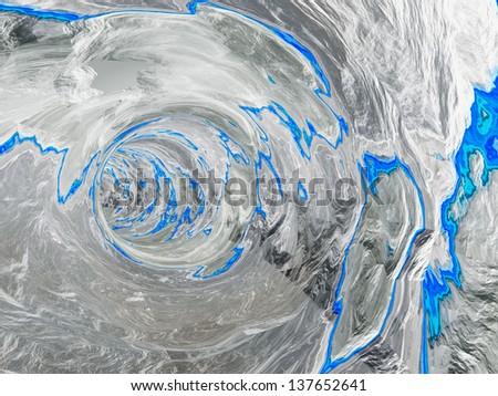 Concept or conceptual 3D abstract perspective render of a futuristic curve tunnel or tube background with water,blue or liquid as metaphor to deep,earth,nature,f resh,spring underwater or light - stock photo