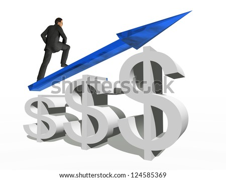 Concept or conceptual 3D blue glass dollar symbol with arrow pointing up isolated on white background with businessman as a metaphor for business,finance,money,growth,success,stock,currency or economy - stock photo