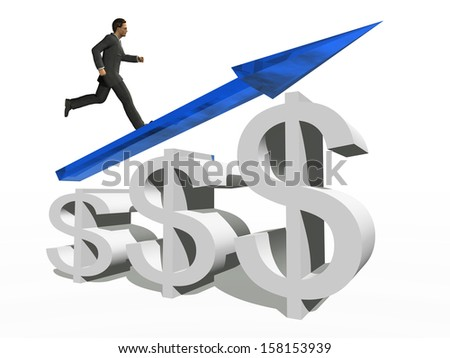 Concept or conceptual 3D blue glass dollar symbol with arrow pointing up isolated on white background with businessman as a metaphor for business,finance,money,growth,success,stock,currency or economy