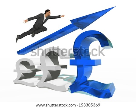 Concept or conceptual 3D blue glass pound symbol with arrow pointing up isolated on white background with businessman as a metaphor for business,finance,money,growth,success,stock,currency or economy - stock photo