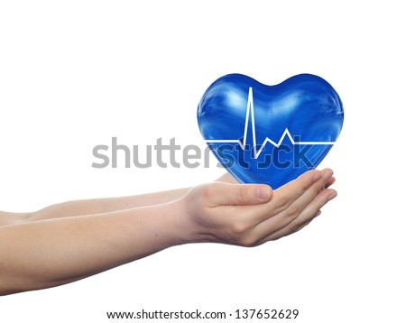 Concept or conceptual 3D blue human heart sign or symbol held in human man or woman hands isolated on white background,metaphor to health,care,medicine,protect,life,medical,pulse,healthcare cardiology