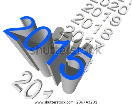 Concept or conceptual 3D blue 2015 year isolated on white background, metaphor to holiday, symbol, Christmas, calendar, happy, eve, December, January, time, change, season, new year or winter graphic - stock photo
