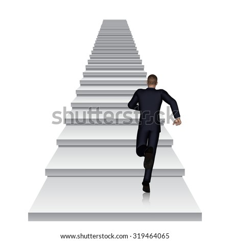 Concept or conceptual 3D business man running or climbing white stair isolated on white background metaphor to success, career, work, job, achievement, development, growth, progress, vision or future - stock photo