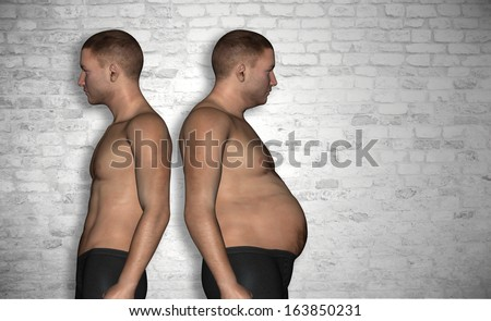 Concept or conceptual 3D fat overweight and slim fit young man on diet over vintage brick wall background,metaphor to health,body,fitness,dieting,abdomen,loss,lifestyle,obesity,unhealthy,sport or thin - stock photo