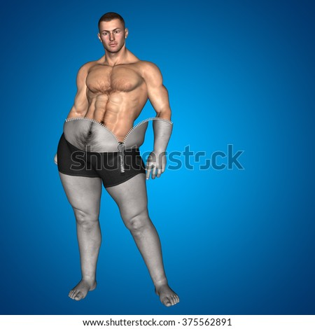 Concept or conceptual 3D fat overweight vs slim fit diet muscles zipper young man blue gradient background metaphor weight loss, body, fitness, fatness, obesity, health, healthy, male, dieting, shape - stock photo
