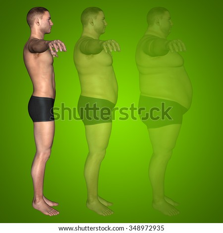 Concept or conceptual 3D fat overweight vs slim fit diet with muscles young man green gradient background for weight loss, body, fitness, fatness, obesity, health, healthy, male, dieting or shape - stock photo